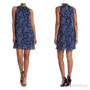 NWT Tommy Hilfiger Floral Mock Neck Chiffon Dress